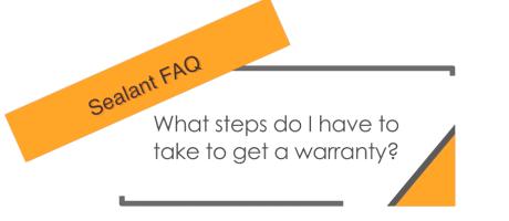 Sealant faq page on warranty