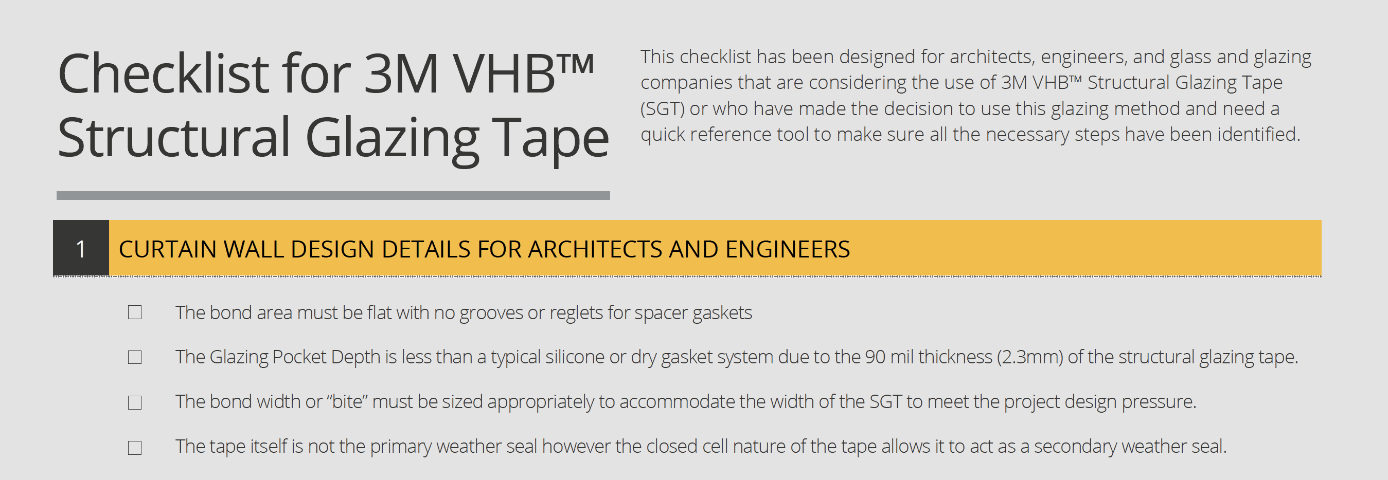 Checklist for 3M VHB